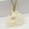 Buffalo Bone Octopus Necklace Brown Cord 43x35mm
