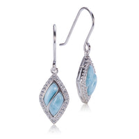 Diamond Shape Larimar Sterling Silver Hook Earring Pave Cubic Zirconia