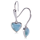 Sterling Silver Heart Shape With Larimar Inlay Hook Earring - Hanalei Jeweler