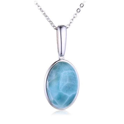 Sterling Silver Oval Shape With Larimar Inlay Pendant(Chain Sold Separately) - Hanalei Jeweler