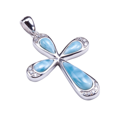 Sterling Silver Larimar Pave Cubic Zirconia Cross Pendant(Chain Sold Separately) - Hanalei Jeweler
