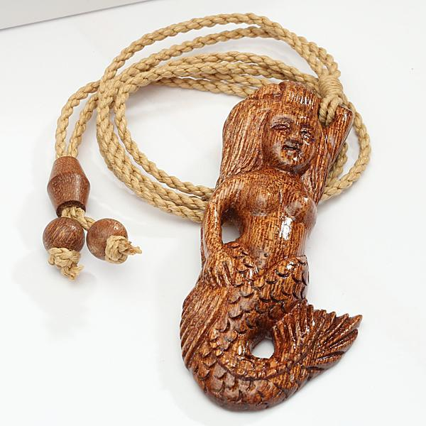 Koa Wood Mermaid Necklace Brown Cord 35x75mm