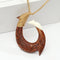 40x60mm Koa Wood/Cow Bone Fish Hook Necklace with Carving Brown Cord