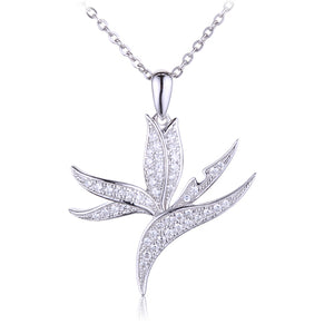 Sterling Silver Pave Cubic Zirconia Bird of Paradise Pendant(Chain Sold Separately) - Hanalei Jeweler