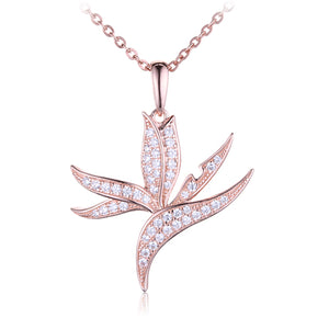 Sterling Silver Pink Gold Plated Pave Cubic Zirconia Bird of Paradise Pendant(Chain Sold Separately) - Hanalei Jeweler