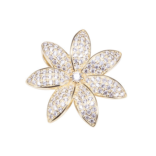 Sterling Silver Yellow Gold Plated Pave Cubic Zirconia Tiare Pendant(Chain Sold Separately) - Hanalei Jeweler