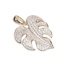 Sterling Silver Yellow Gold Plated Pave Cubic Zirconia Monstera Pendant(Chain Sold Separately) - Hanalei Jeweler