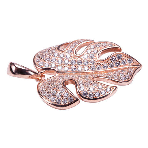 Sterling Silver Pink Gold Plated Pave Cubic Zirconia Monstera Pendant(Chain Sold Separately) - Hanalei Jeweler