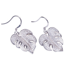 Sterling Silver Pave Cubic Zirconia Monstera Hook Earring - Hanalei Jeweler