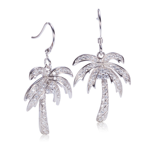 Sterling Silver Pave Cubic Zirconia Palm Tree Hook Earring - Hanalei Jeweler