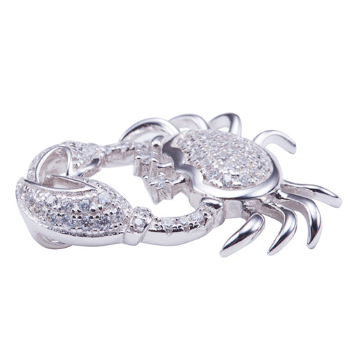 Sterling Silver Pave Cubic Zirconia Moving Crab Pendant(Chain Sold Separately) - Hanalei Jeweler