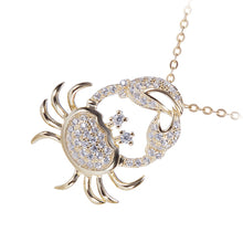Sterling Silver Yellow Gold Plated Pave Cubic Zirconia Moving Crab Pendant(Chain Sold Separately) - Hanalei Jeweler