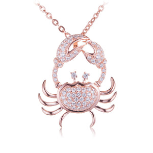 Sterling Silver Pink Gold Plated Pave Cubic Zirconia Moving Crab Pendant(Chain Sold Separately) - Hanalei Jeweler