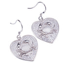 Sterling Silver Pave Cubic Zirconia Crab in Heart Hook Earring - Hanalei Jeweler