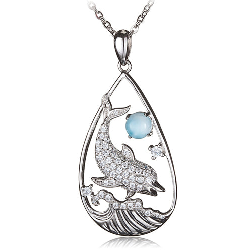 Diving Dolphin with Larimar Bead in Water Drop Shape Pendant(Chain Sold Separately) - Hanalei Jeweler
