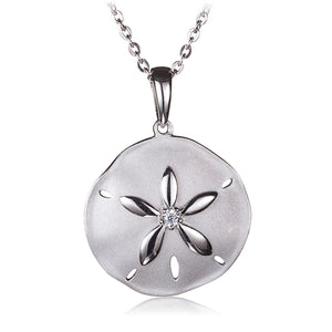 Sterling Silver Sand Dollar Pendant Sandblast Finished(Chain Sold Separately) - Hanalei Jeweler