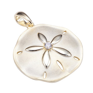 Sterling Silver Yellow Gold Plated Sand Dollar Pendant Sandblast Finished(Chain Sold Separately) - Hanalei Jeweler