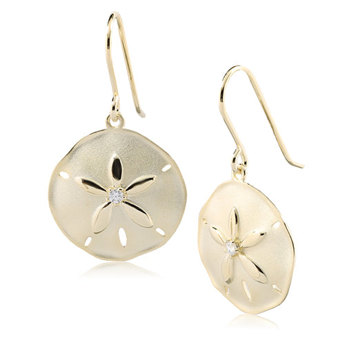 Sterling Silver Yellow Gold Plated Sand Dollar Hook Earring Sandblast Finished - Hanalei Jeweler