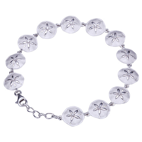 Sterling Silver Sand Dollar Bracelet Sandblast Finished - Hanalei Jeweler