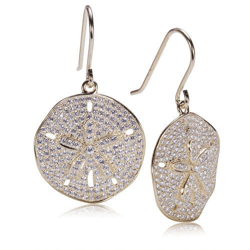 Sand Dollar Star Fish Pave Cubic Zirconia Sterling Silver Hook Earring Yellow Gold Plated - Hanalei Jeweler
