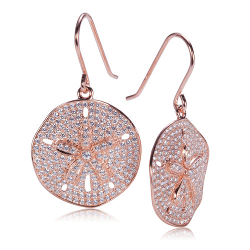 Sand Dollar Star Fish Pave Cubic Zirconia Sterling Silver Hook Earring Pink Gold Plated - Hanalei Jeweler