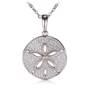 Sand Dollar Sterling Silver Pendant with See Through Star Fish(Chain Sold Separately) - Hanalei Jeweler