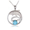 Sterling Silver Diving Dolphin Larimar Bead in Pave CZ Cirle Pendant(Chain Sold Separately) - Hanalei Jeweler