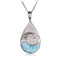 Water Drop Sterling Silver Pendant with Wave Shape Larimar Inlay and Pave Cubic Zirconia(Chain Sold Separately) - Hanalei Jeweler
