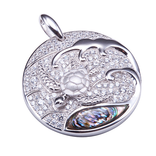 Sterling Silver Pave CZ Circle Pendant with Swimming Sea Turtle and Abalone Inlay Wave(Chain Sold Separately) - Hanalei Jeweler