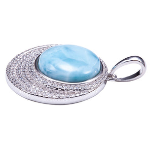 Sterling Silver Pave CZ Larimar Bead Inlay Circle Pendant(Chain Sold Separately) - Hanalei Jeweler