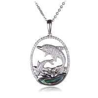 Diving Dolphins Abalone Inlay Wave in Sterling Silver Pave CZ Oval Pendant(Chain Sold Separately) - Hanalei Jeweler