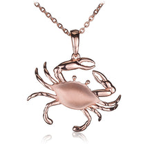 Sterling Silver Pink Gold Plated Moving Crab Pendant Sandblast Finished(Chain Sold Separately) - Hanalei Jeweler