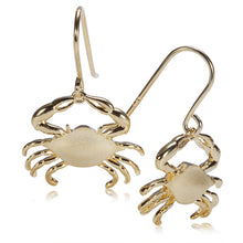 Sterling Silver Yellow Gold Plated Moving Crab Hook Earring Sandblast Finished - Hanalei Jeweler