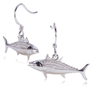 Sterling Silver Pave Cubic Zirconia Tuna Hook Earring - Hanalei Jeweler