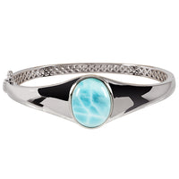 Sterling Silver Stand-Oval Larimar Bangle Bracelet