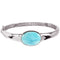Sterling Silver Oval Larimar Bangle Bracelet - Hanalei Jeweler