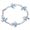 Sterling Silver Larimar Inlay Honu(Turtle) with Link Chain Bracelet - Hanalei Jeweler