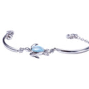 Single Honu(Turtle) Larimar Inlay with Bar and Link Chain Sterling Silver Bracelet - Hanalei Jeweler
