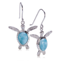 Sterling Silver Larimar Inlay Swimming Sea Turtle Hook Earring