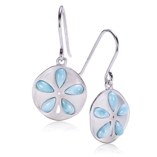 925 Sterling Silver Larimar Inlaid Sand Dollar Hook Earring - Hanalei Jeweler