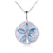 Sterling Silver Larimar Inlay CZ Sand Dollar Pendant(Chain Sold Separately) - Hanalei Jeweler