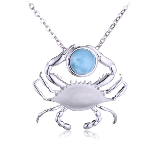 Sterling Silver Blue Crab Pendant with Larimar Bead(Chain Sold Separately) - Hanalei Jeweler