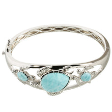 Sterling Silver Three Larimar Turtle Bangle Bracelet - Hanalei Jeweler