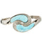 Sterling Silver Larimar Wave with CZ Bangle Bracelet - Hanalei Jeweler