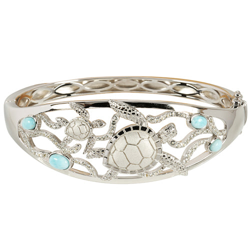 Sterling Silver Swimming Turtle with Larimar Bead Bangle - Hanalei Jeweler