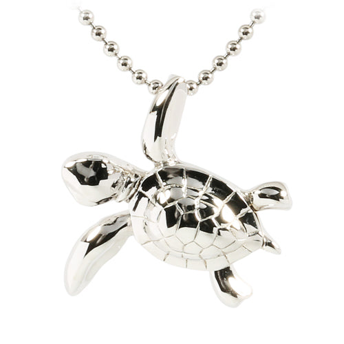 Sterling Silver Rhodium Swimming Turtle Pendant - Hanalei Jeweler