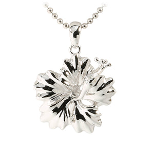 Sterling Silver Rhodium High Polish Hibiscus Pendant(M) - Hanalei Jeweler