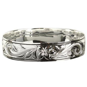 Sterling Silver Scroll Plumeria Engraving Hawaiian Heirloom Bangle Black Border - Hanalei Jeweler