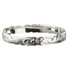 Classic Hawaiian Sterling Silver Scrolling Plumeria Bangle Cut Out Edge - Hanalei Jeweler