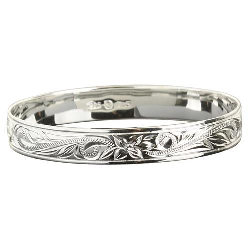 Sterling Silver Hawaiian Bangle Scroll Plumeria Engraving Straight Edge - Hanalei Jeweler